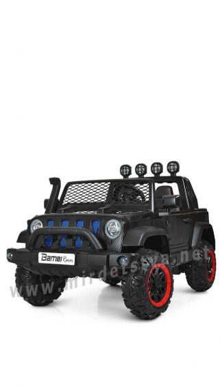 Двухместный черный джип Bambi M 4061EBLR-2