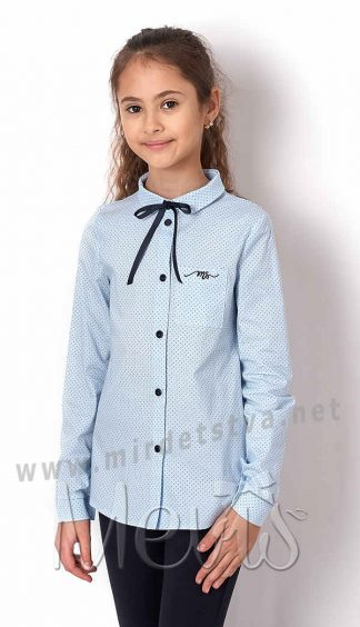 Голубая блуза школьная Mevis 2645-01