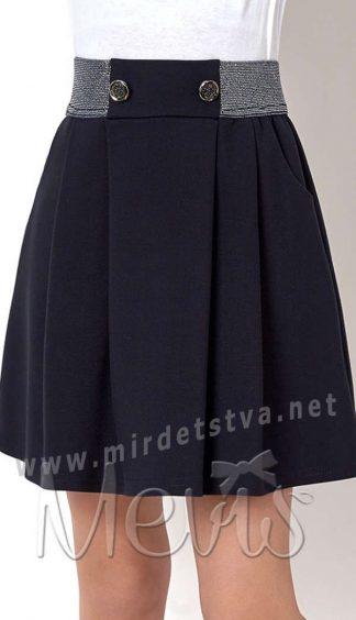 Красивая синяя юбка на резинке на девочку в школу Mevis 2730-01