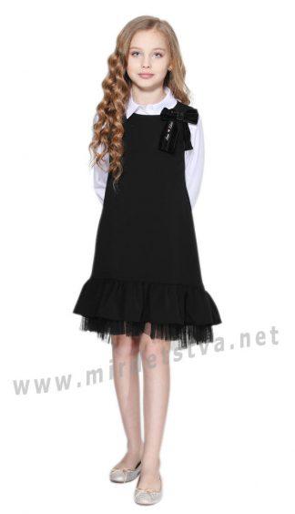 Красивое школьное черное платье сарафан Lukas 8255