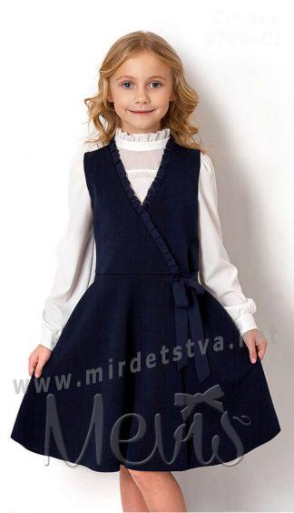 Красивый синий сарафан в школу Mevis 2708-01