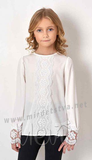 Кружевная белая школьная блузка Mevis 2736-01