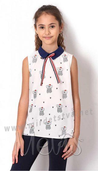 Модная блузка с принтом без рукавов Mevis 2491-01