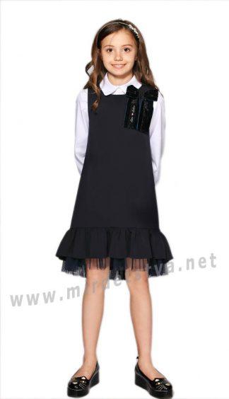 Модное синее платье сарафан для девочек в школу Lukas 8255