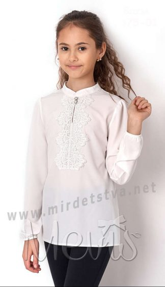 Нарядная блуза с длинным рукавом школьнице Mevis 2675-01