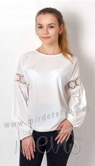 Подростковая белая блуза с кружевом и длинный рукавом Mevis 2754-01