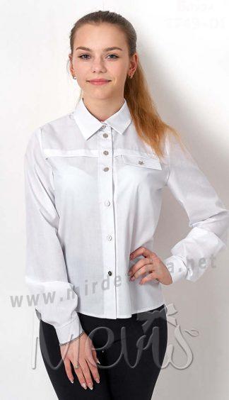 Подростковая рубашка Mevis 2749-01 белого цвета