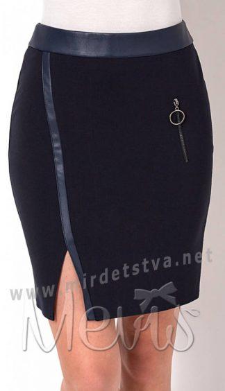 Прямая трикотажная юбка подростку в школу Mevis 2655-01