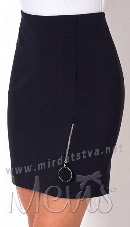 Синяя прямая школьная подростковая юбка на девочку Mevis 2697-01