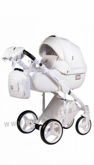 Белая коляска 2в1 Adamex Luciano Q107 кожа