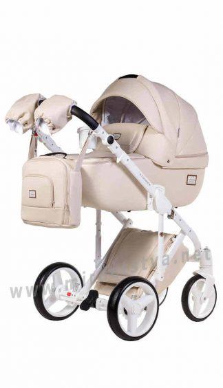 Бежевая коляска 2в1 Adamex Luciano 67S кожа