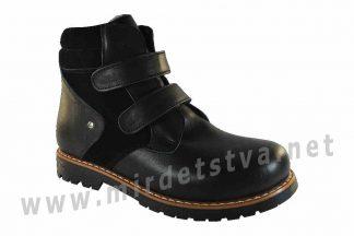 Черные демисезонные детские кожаные ботинки ортопедия 4Rest Orto 06-540