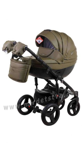 Детская коляска 2в1 Adamex Monte Deluxe Carbon 58S-CZ кожа
