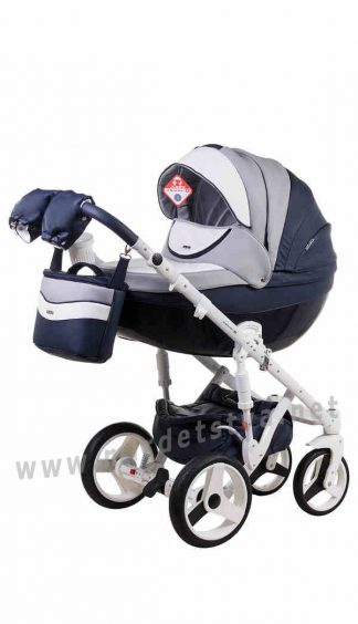 Детская коляска 2в1 Adamex Monte Deluxe Carbon D103 кожа