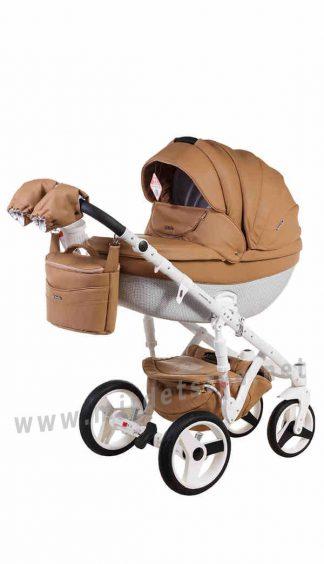 Коляска для новорожденных 2в1 Adamex Monte Deluxe Carbon 56S-B кожа
