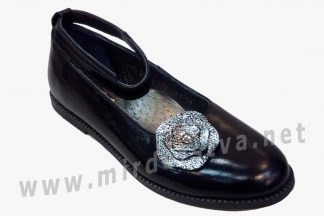 Модельные черные фабричные туфли балетки для девочки Bistfor 97721/226/281