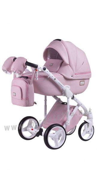 Розовая детская коляска 2в1 Adamex Luciano Q110 кожа