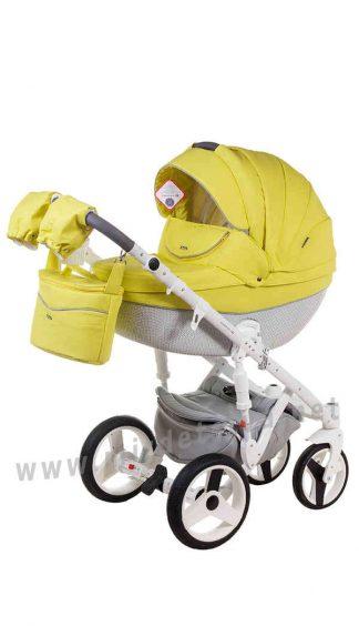 Яркая коляска 2в1 Adamex Monte Deluxe Carbon 39S-B кожа