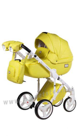 Яркая коляска детская 2в1 Adamex Luciano Q108 кожа