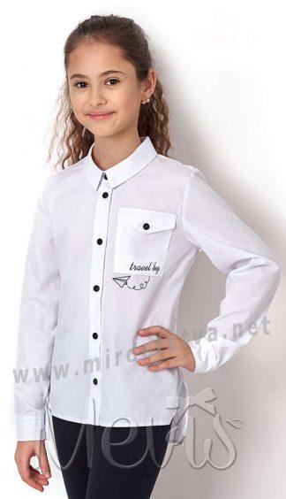 Блуза белая с длинным рукавом Mevis 2761-01