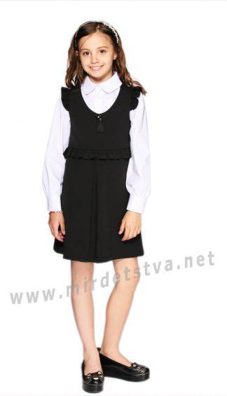 Черное платье школьное для девочек Lukas 9229