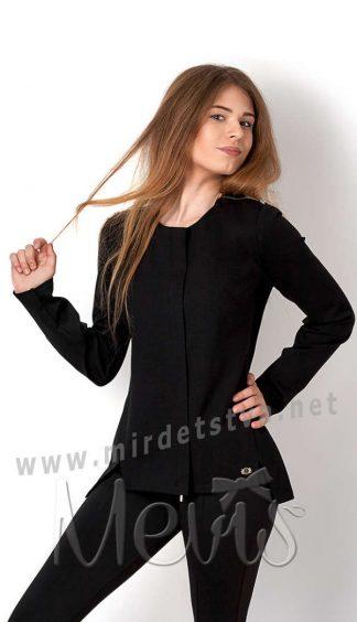 Черный трикотажный жакет для девочки подростка в школу Mevis 2703-02
