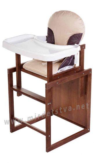 Деревянный стол+стул для кормления Бук-04 темный пластиковая столешница беж