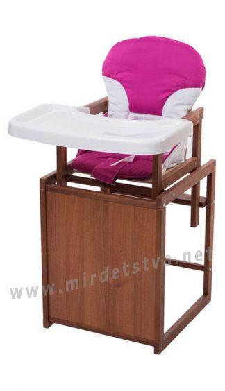 Детский стульчик для кормления девочке Бук-04 темный пластиковая столешница малиновый