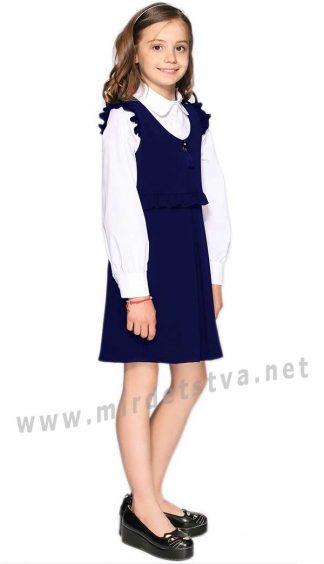 Платье синее с рюшами Lukas 9229