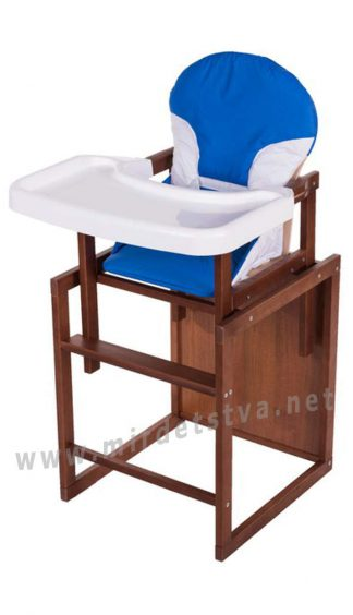 Столик трансформер для кормления Бук-04 темный пластиковая столешница синий