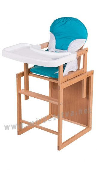 Удобный стульчик трансформер для кормления Бук-02 светлый пластиковая столешница бирюза