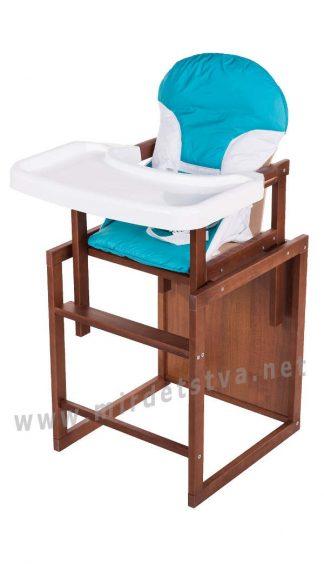 Яркий детский стульчик для кормления Бук-04 темный пластиковая столешница бирюза