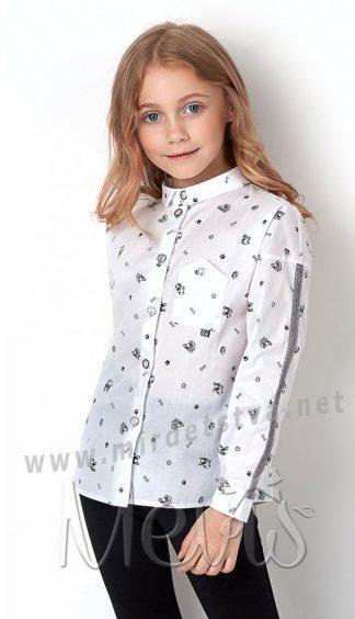 Детская хлопковая белая блуза с отложным воротничком в школу Mevis 2899-01