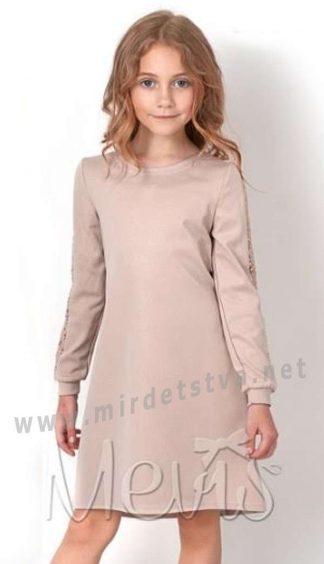 Модное платье бежевого цвета для девочки Mevis 2875-02
