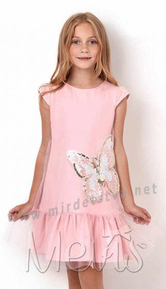 Розовое нарядное платье для девочки Mevis 2937-02