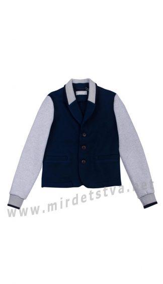 Удобный трикотажный школьный утепленный пиджак мальчику KidsCouture 120053238