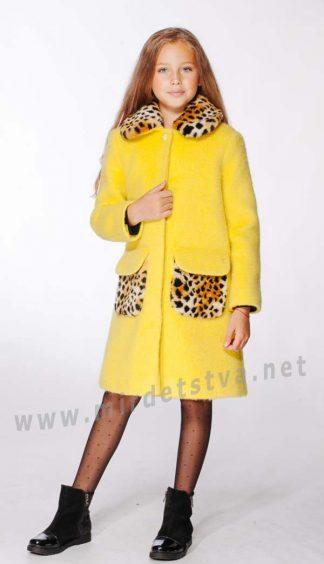 Демисезонное желтое шерстяное детское пальто девочке Lukas 9304