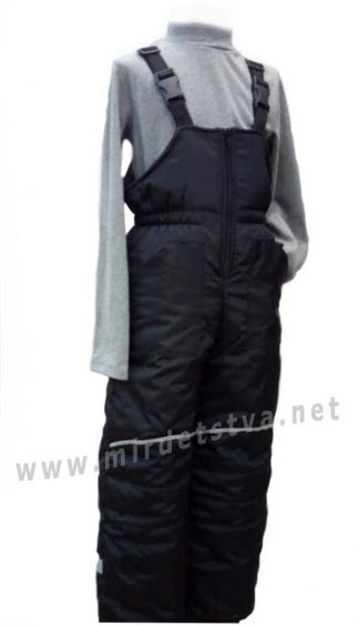 Детский зимний полукомбинезон на флисе Traveler черного цвета