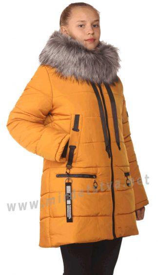 Горчичная удлиненная куртка на девочку зима Nestta Avrora