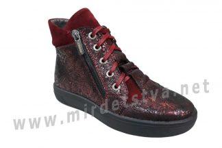 Кожаные демисезонные ботинки Jordan 7025 бордовые