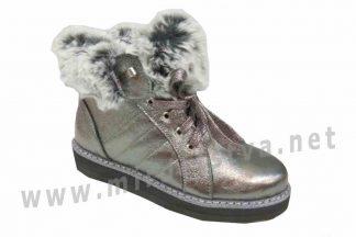 Осенние ботинки для девочки Jordan 7014 серебро