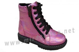 Розовые демисезонные ботинки Tops Д-735н кожа