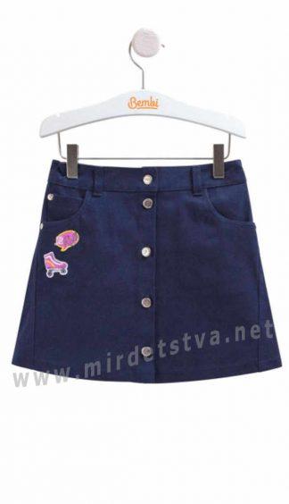Стильная юбка для девочки синего цвета Бемби ЮБ90