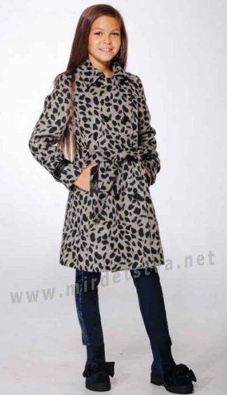 Стильное и модное леопардовое пальто для девочки Lukas 9322