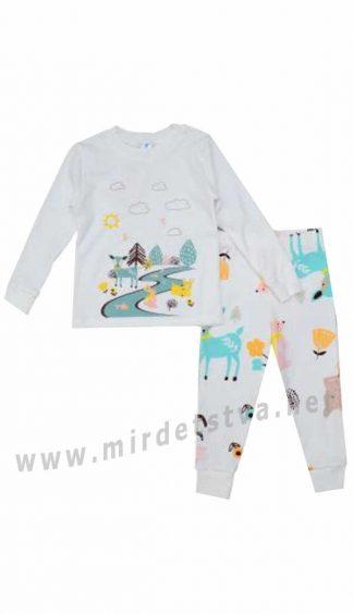 Трикотажная пижама молочного цвета Minikin 194703