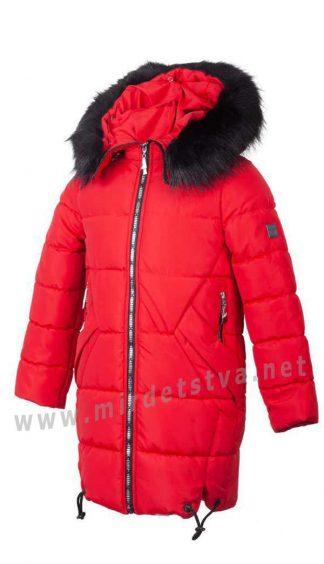 Удлиненная зимняя красная куртка для девочек Alfonso KR-06-A 677 (KR-06-B 677)