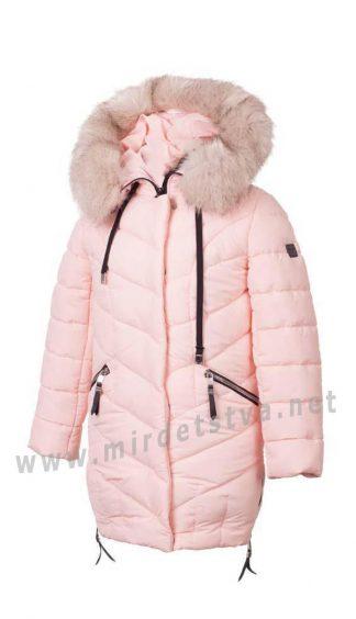 Зимняя детская куртка пальто на синтетическом пухе Alfonso KR-03-A 662 пудра