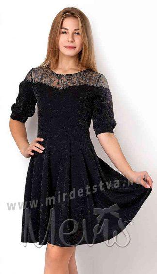 Черное трикотажное платье Mevis 3156-01