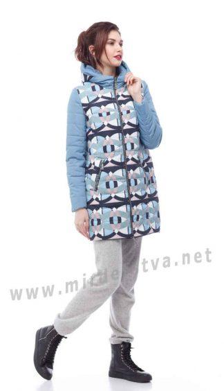 Демисезонная курточка для девочки Origa Веста голубая абстракция