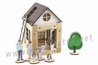 Деревянный конструктор на 3-5 лет ТМ Zevs-toys 400326 «Brown house» 44 детали